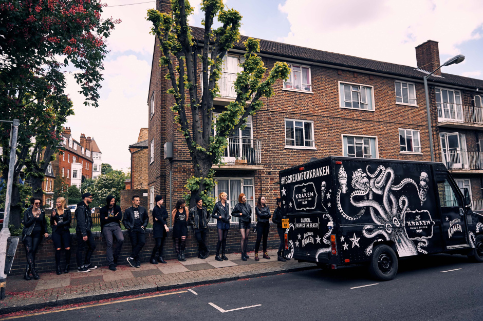 The Kraken I Scream van began its tour at London's renowned Battersea Park, where heavy metal fans left the mosh pit and eagerly awaited the chance to taste the UK's first black ice scream, The Kraken I SCREAM.