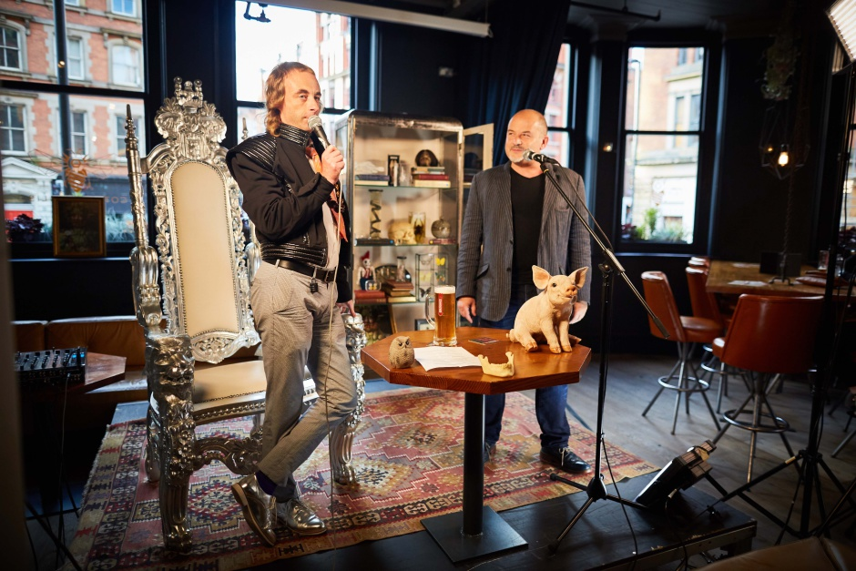Krusovice beer event at Cottonopolis in Manchester with comedian Paul Foot and beer expert, Sam Surl as they celebrate mad King Rudolf II's birthday