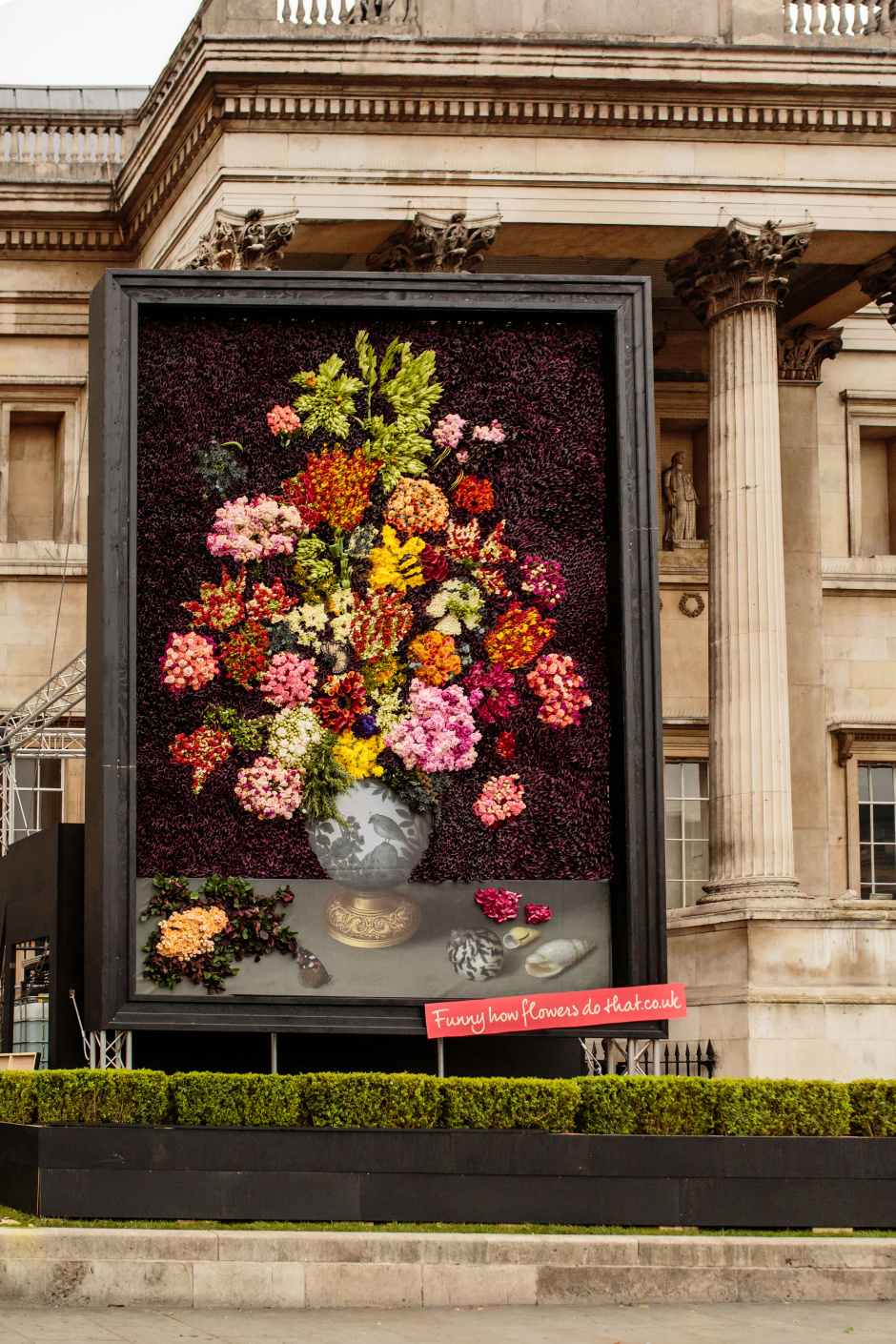 Portrait shot of completed floral masterpiece outside The National Gallery in London. Photo by Catherine Pound Photography