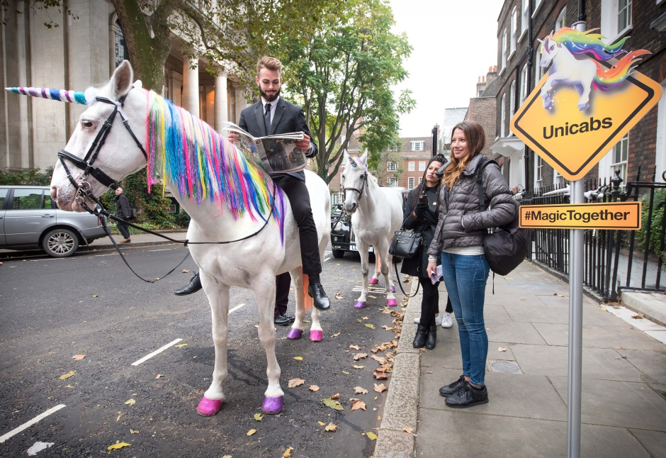 **FREE TO USE FOR SINGLE EDITORIAL PURPOSES AND NOT FOR FURTHER SYNDICATION** Unicorn cabs hit the streets of London as Three and ZTE inject magic into the morning commute to celebrate the launch of the new ZTE Blade 7. Byline John Nguyen/JNVisuals 24/10/2016
