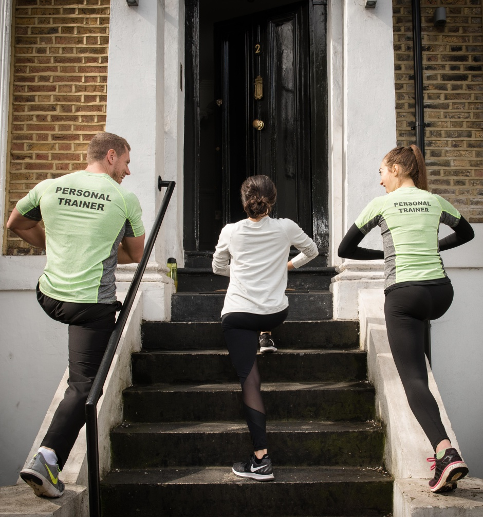 To help get Kensington residents moving, Kensington Harbour Clubs is launching a 'door to door' PT service. Taking inspiration from door-to-door salesmen and giving the concept a fitness twist, the PTs will offer 10-minute HIIT sessions to Kensington residents, on their doorsteps. 05/04/2017 Byline John Nguyen/JNVisuals