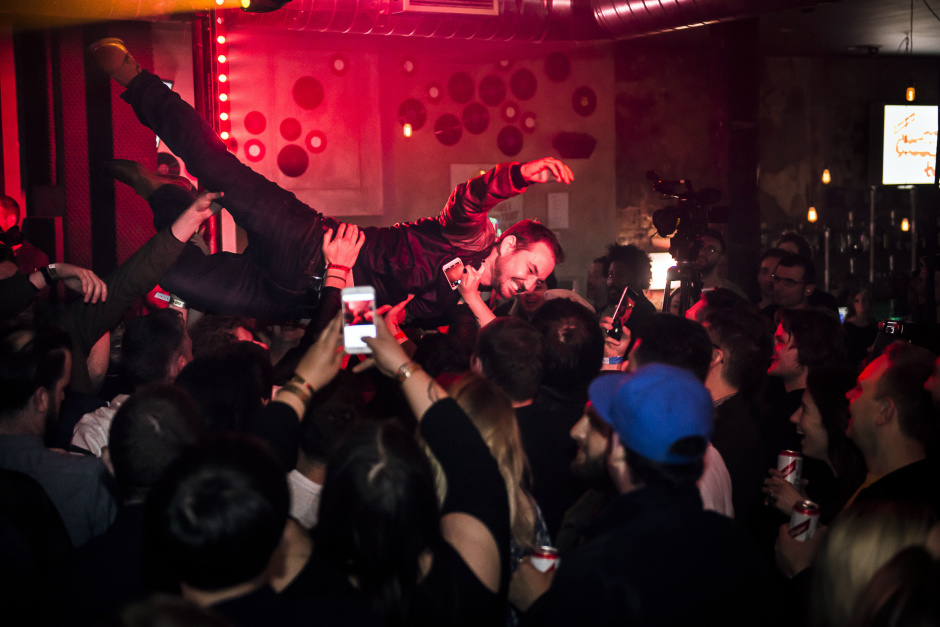 Line of Duty star Martin Compston crowd surfs during Slaves performance for Red Stripe presents: This Feeling TV