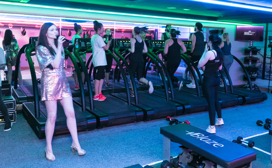 Pop sensation Sophie Ellis-Bextor ditched the dance floor in favour of the gym floor when she celebrated the launch of David Lloyd Clubs new class - Blaze.