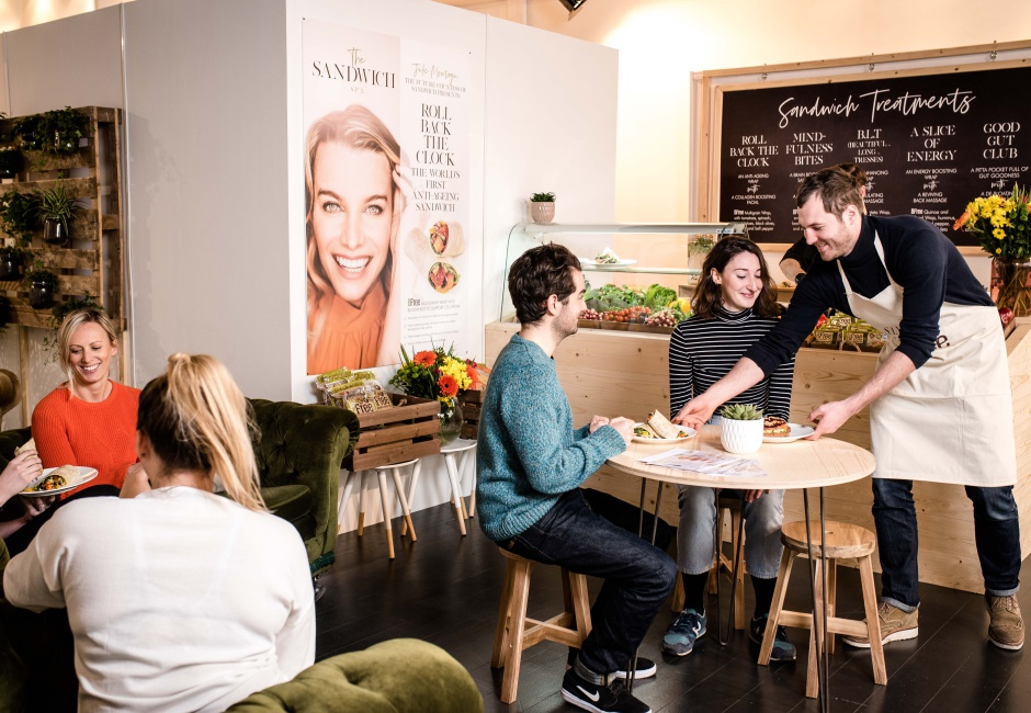 Customers visiting BFree's The Sandwich Spa, a unique new wellness concept opening its doors in London from 14th-16th, serving up wellness sandwiches alongside wellness treatments, to feed the body from the inside and out.