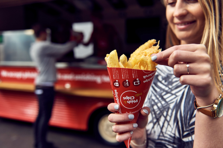 To raise awareness of the number of phishing scams happening in the UK, Santander has launched 'Phish & Chips': a unique fish and chips van that only accepts payment in the form of phishing emails and smishing texts. Customers at SantanderÕs new Phish & Chips van can simply present staff with a phishing email or smishing text they have received from scammers as currency to exchange for a portion of fish and chips (along with a side of advice on avoiding the tricks criminals use in their attempts to steal peopleÕs money and identities).