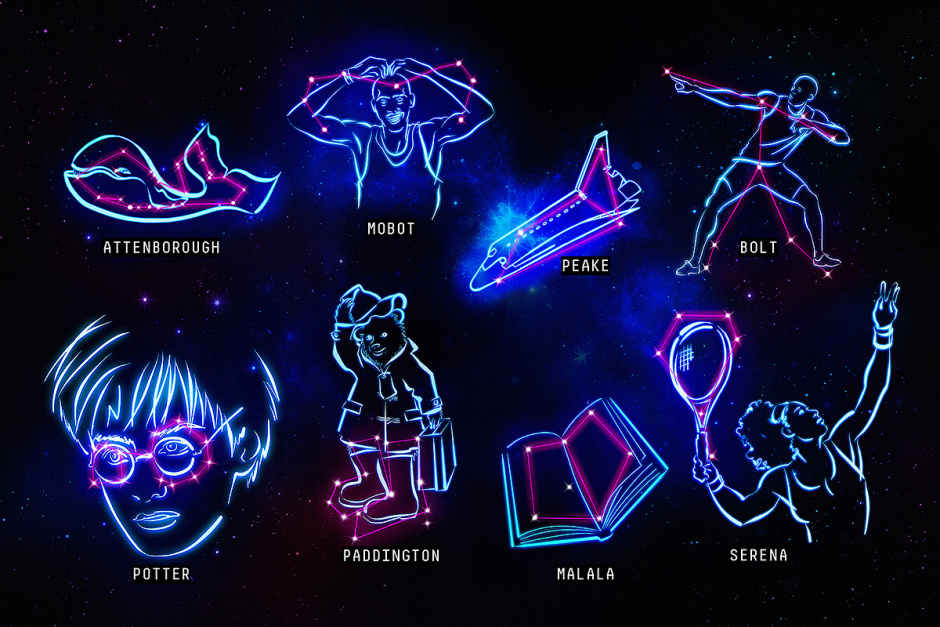 The Big Bang Fair partners with astronomers at Birmingham University to create a series of new constellations in honour of famous men and women that are inspirational to young people today. The icons that have been commemorated include Usain Bolt doing his celebratory lightning-bolt stance, Sir David Attenborough in the shape of a blue whale, JK Rowling through Harry Potter's iconic glasses, Mo Farah doing his Mobot celebration, a spaceship for Tim Peake, a book for Malala Yousafzi and author Michael Bond through Paddington Bear's boots. The constellations have been created with a view to getting more young people interested in stargazing and the universe. They arrive in the wake of research from The Big Bang Fair which found that 72% of children have never looked up at the night sky to find a star constellation before, while 29% wouldn't be able to recognise a single classical constellation when shown them. For more information email bigbang@cowpr.com or call 0207 234 9150.